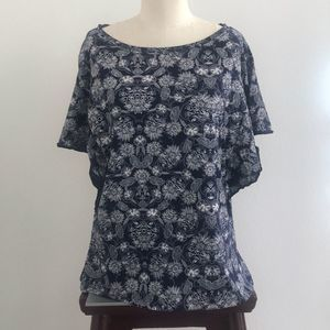 Gap Navy Blue Floral Flutter Sleeve Top